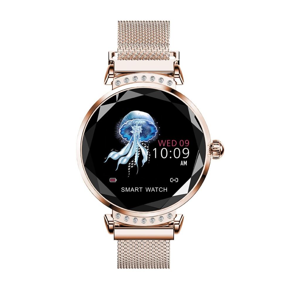Ceas Smartwatch fitness fashion H2 cu functie de monitorizare ritm cardiac, Notificari, Pedometru, Bluetooth, Metal, Auriu imagine