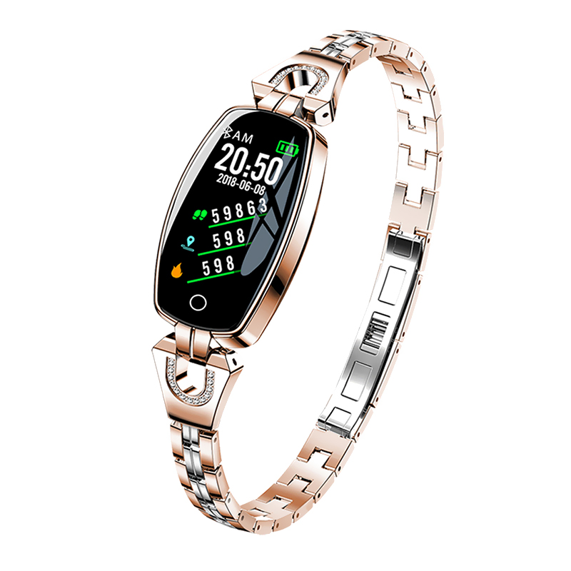 Bratara fitness fashion H8 cu functie de monitorizare tensiune arteriala si ritm cardiac, Notificari, Pedometru, Bluetooth, Metal, Roz-auriu imagine
