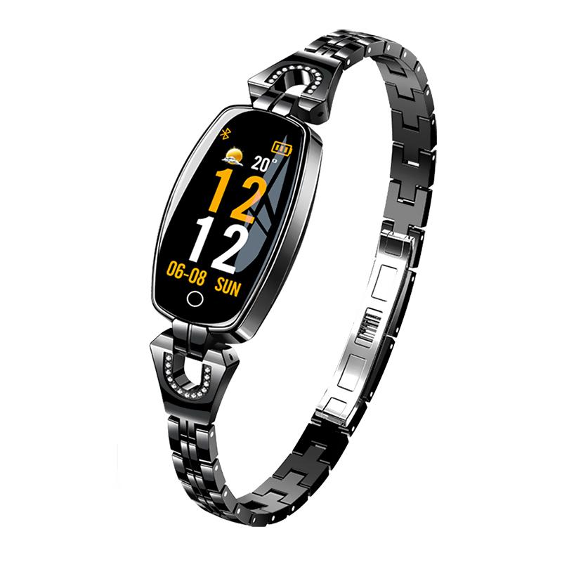 Bratara fitness fashion H8 cu functie de monitorizare tensiune arteriala si ritm cardiac, Notificari, Pedometru, Bluetooth, Metal, Neagra imagine