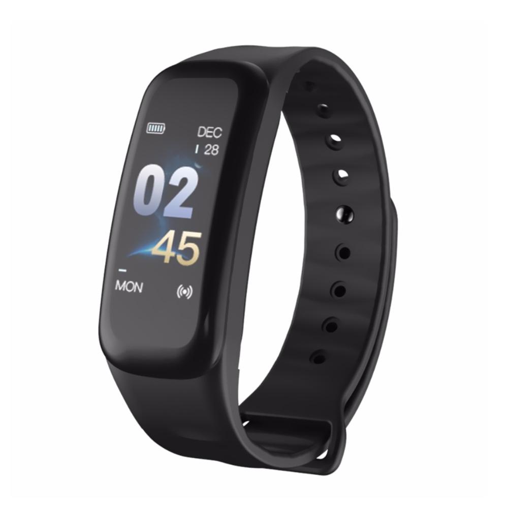 Bratara fitness inteligenta C1S cu masurarea ritmului cardiac, Notificari, Pedometru, Bluetooth, Neagra imagine
