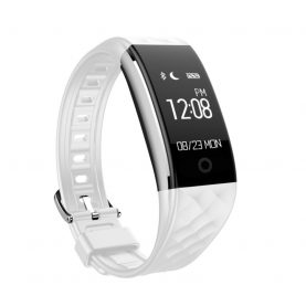 Bratara fitness inteligenta S2 cu masurarea ritmului cardiac, Notificari, Pedometru, Bluetooth, Alba