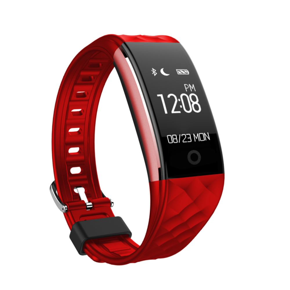 Bratara fitness inteligenta S2 cu masurarea ritmului cardiac, Notificari, Pedometru, Bluetooth, Rosie imagine