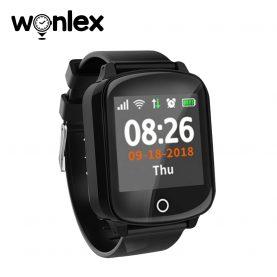 Ceas Smartwatch Pentru Adulti / Varstnici Wonlex EW200S cu Functie Telefon, Senzor puls, Tensiune arteriala, Localizare GPS, Pedometru, SOS, IP68 – Negru