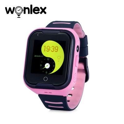 Ceas Smartwatch Pentru Copii Wonlex KT11 cu Functie Telefon, Apel video, Localizare GPS, Camera, Pedometru, Lanterna, SOS, IP54, 4G – Roz, Cartela SIM Cadou