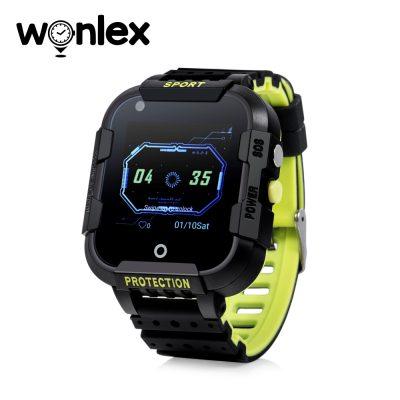 Ceas Smartwatch Pentru Copii Wonlex KT12 cu Functie Telefon, Apel video, Localizare GPS, Camera, Pedometru, SOS, IP54, 4G – Negru – Verde Lamaie, Cartela SIM Cadou