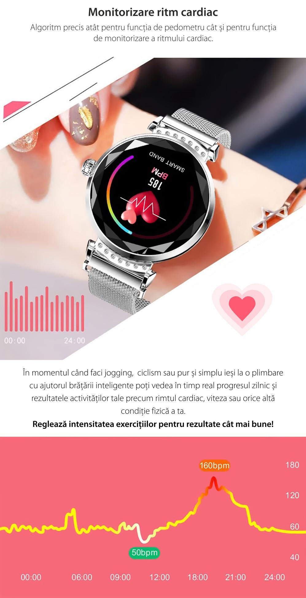 Ceas Smartwatch fitness fashion H2 cu functie de monitorizare ritm cardiac, Notificari, Pedometru, Bluetooth, Metal, Mov