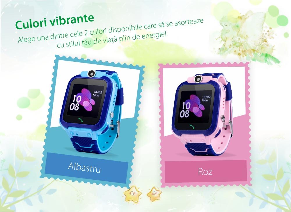 Ceas Smartwatch Pentru Copii Wonlex GW600S cu Functie Telefon, Localizare GPS, Monitorizare somn, Camera, Pedometru, SOS, IP54 – Albastru, Cartela SIM Cadou