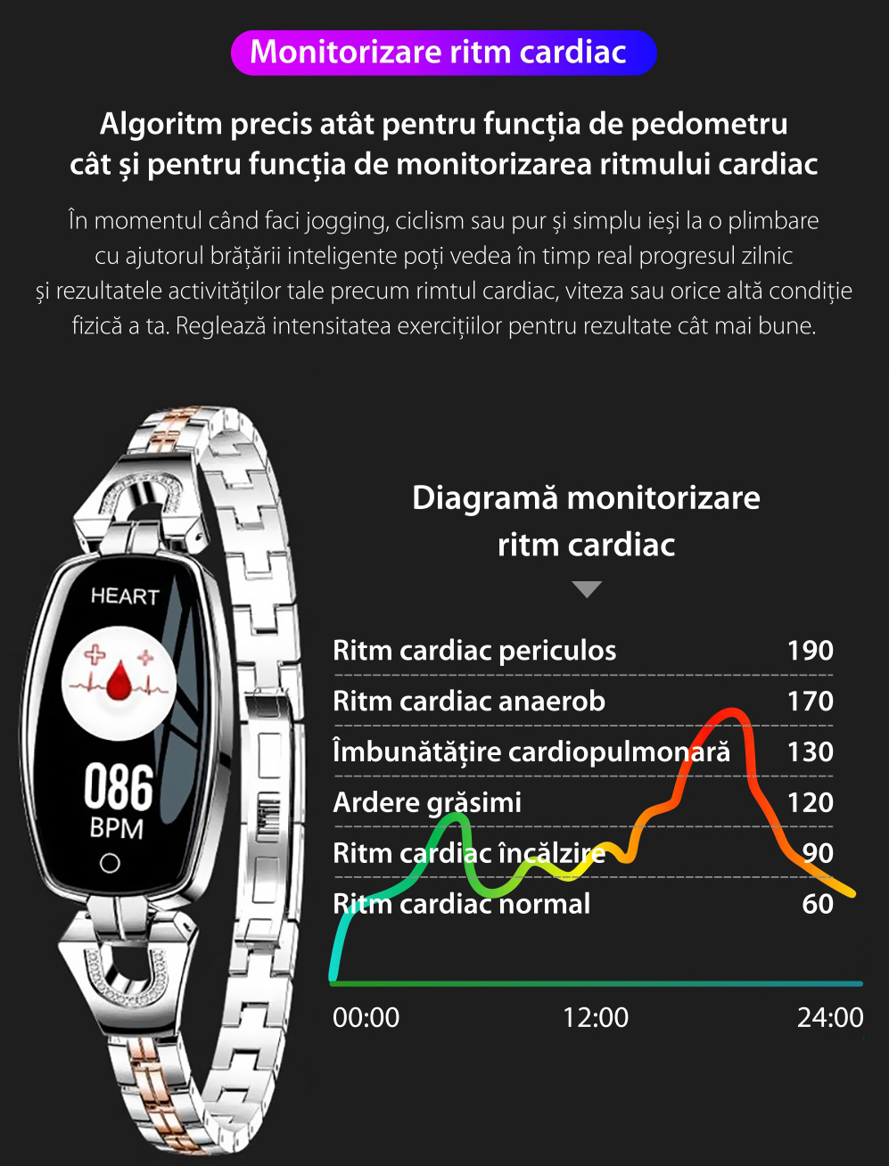 Bratara fitness fashion H8 cu functie de monitorizare tensiune arteriala si ritm cardiac, Notificari, Pedometru, Bluetooth, Metal, Roz-auriu