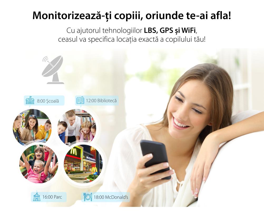 Ceas Smartwatch Pentru Copii Wonlex KT11 cu Functie Telefon, Apel video, Localizare GPS, Camera, Pedometru, Lanterna, SOS, IP54, 4G – Albastru, Cartela SIM Cadou