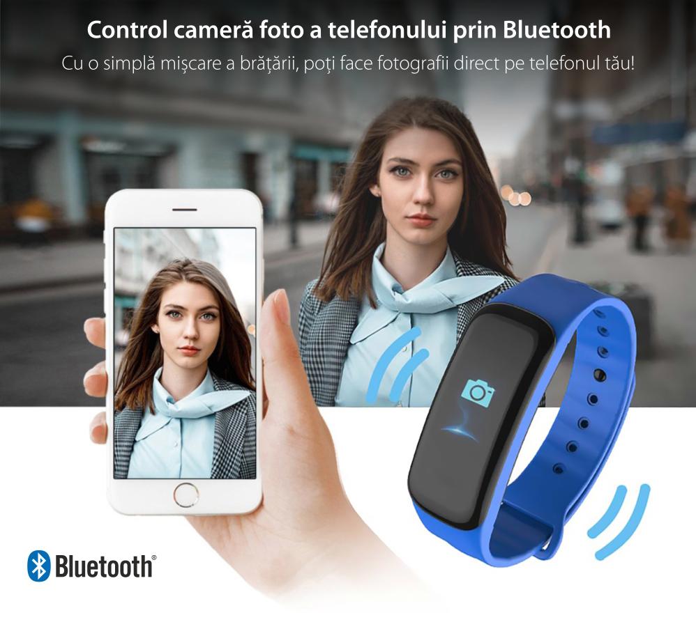 Bratara fitness inteligenta C1S cu masurarea ritmului cardiac, Notificari, Pedometru, Bluetooth, Neagra