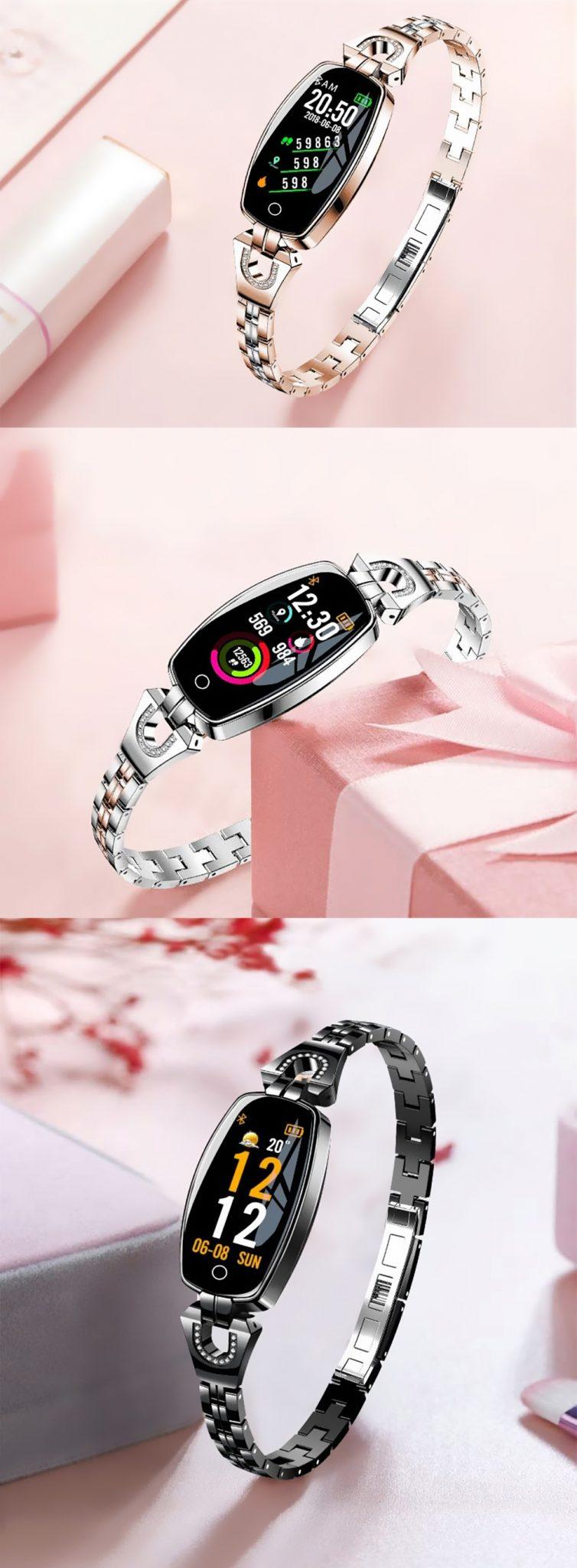 Bratara fitness fashion H8 cu functie de monitorizare tensiune arteriala si ritm cardiac, Notificari, Pedometru, Bluetooth, Metal, Argintie