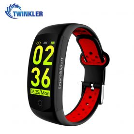 Bratara fitness inteligenta TKY-Q6S cu functie de monitorizare ritm cardiac, Tensiune arteriala, Monitorizare somn, Pedometru, Notificari, Negru – Rosu