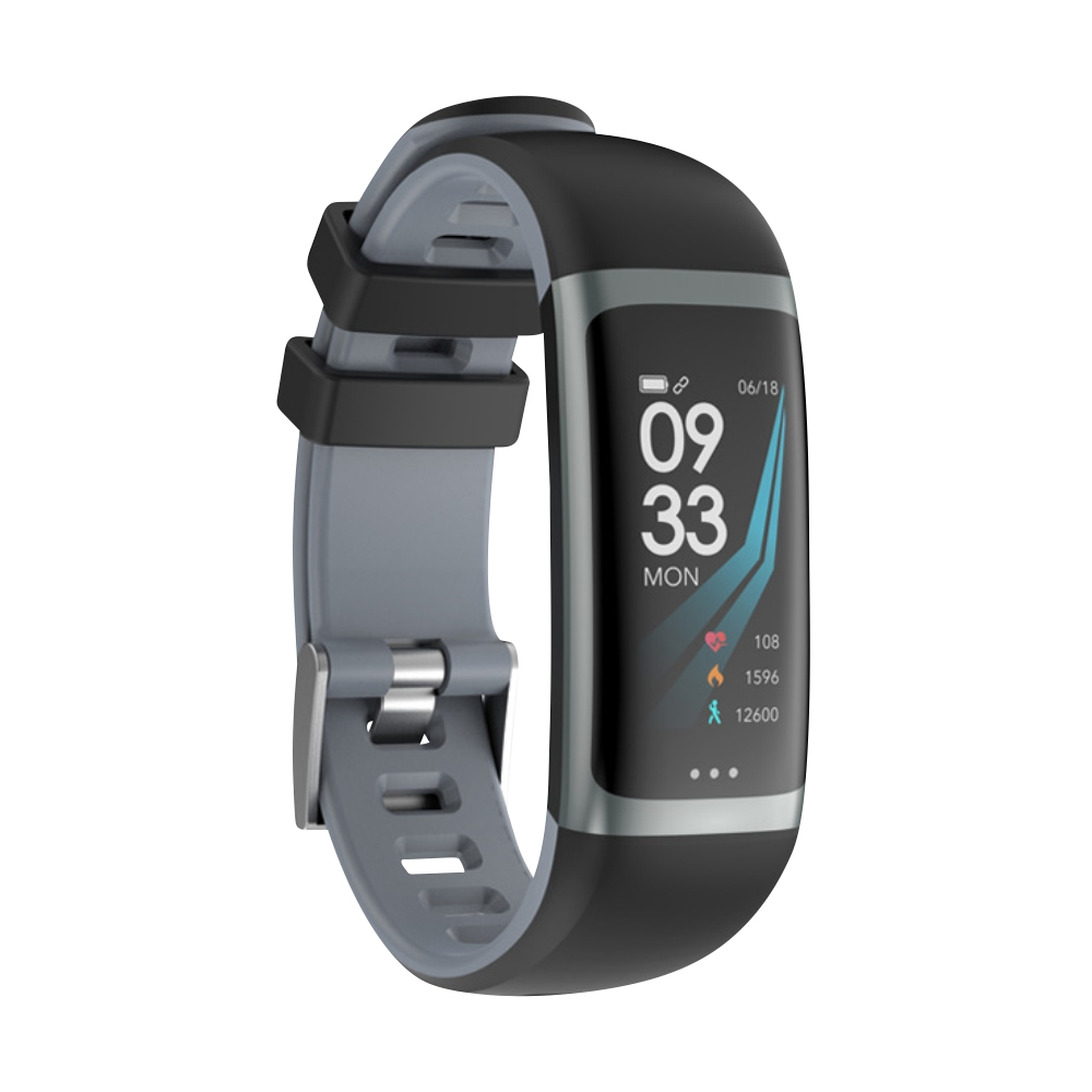 Bratara fitness inteligenta G26 cu functie de monitorizare somn, Tensiune arteriala, Ritm cardiac, Timer, Pedometru, IP54, Gri imagine