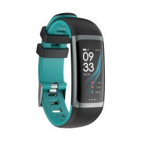 Bratara fitness inteligenta G26 cu functie de monitorizare somn, Tensiune arteriala, Ritm cardiac, Timer, Pedometru, IP54, Turcoaz