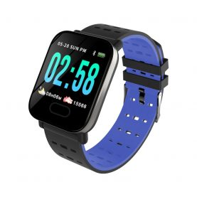 Bratara fitness A6, monitorizare ritm cardiac, Tensiune arteriala, Monitorizare somn, Pedometru, Albastra