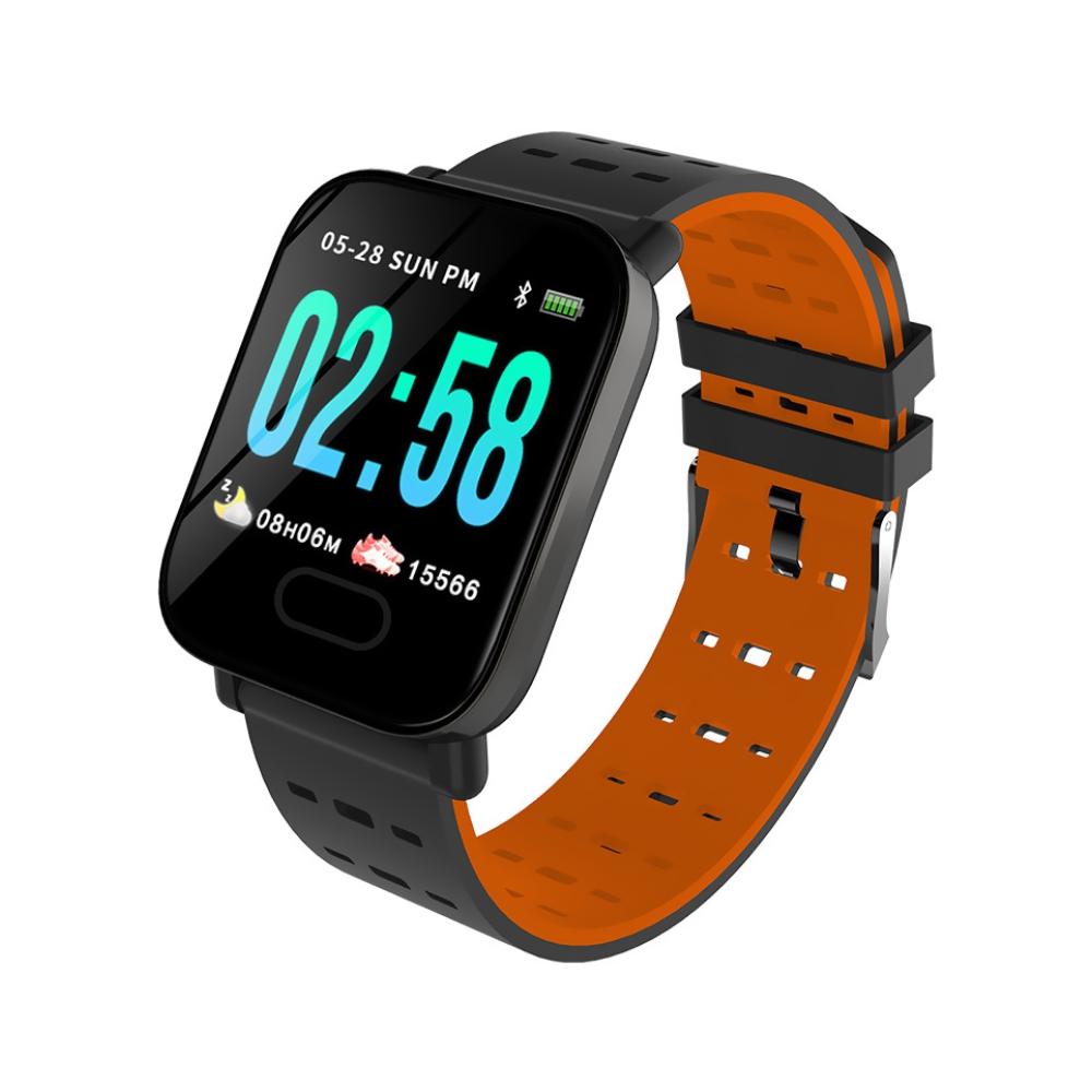 Bratara fitness inteligenta A6 cu functie de monitorizare ritm cardiac, Tensiune arteriala, Monitorizare somn, Notificari, Pedometru, Bluetooth, Portocalie imagine