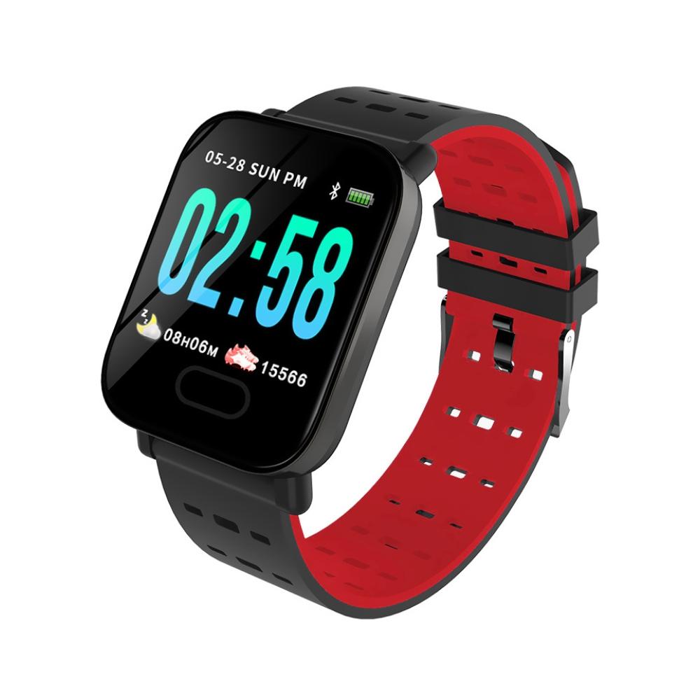 Bratara fitness inteligenta A6 cu functie de monitorizare ritm cardiac, Tensiune arteriala, Monitorizare somn, Notificari, Pedometru, Bluetooth, Rosie imagine