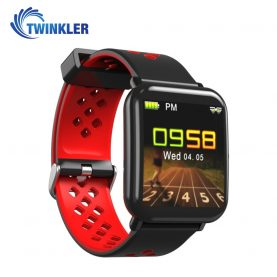 Bratara fitness inteligenta TKY-DM06 cu functie de monitorizare ritm cardiac, Monitorizare somn, Pedometru, Notificari, Rosie