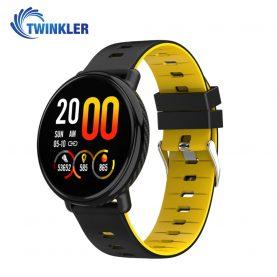 Bratara fitness inteligenta TKY-K1 cu functie de monitorizare ritm cardiac, Tensiune arteriala, Pedometru, Notificari, Galbena