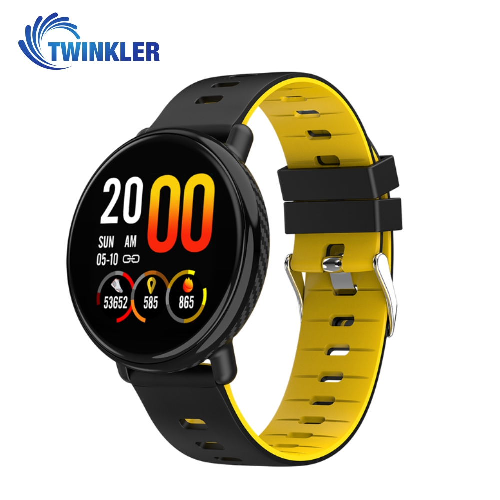 Bratara fitness inteligenta TKY-K1 cu functie de monitorizare ritm cardiac, Tensiune arteriala, Pedometru, Notificari, Galbena imagine