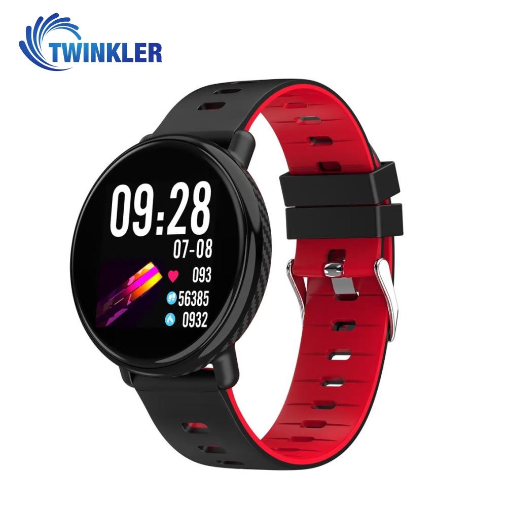 Bratara fitness inteligenta TKY-K1 cu functie de monitorizare ritm cardiac, Tensiune arteriala, Pedometru, Notificari, Rosie imagine