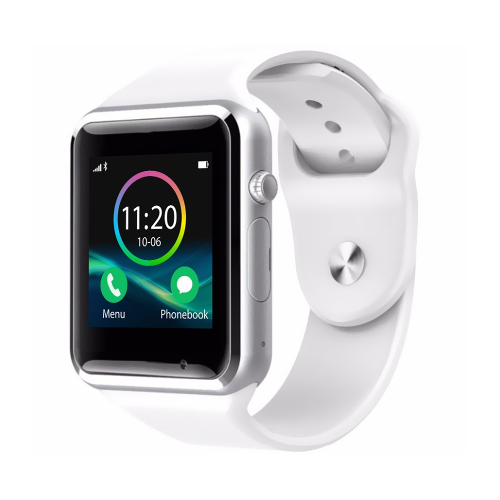 Ceas Smartwatch A1 cu Functie Apelare, SMS, Monitorizare somn, Camera, Pedometru, Bluetooth, Alb imagine
