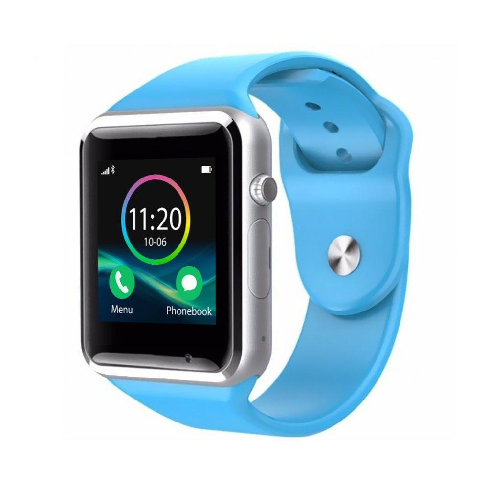 Ceas Smartwatch A1 cu Functie Apelare, SMS, Monitorizare somn, Camera, Pedometru, Bluetooth, Bleu imagine