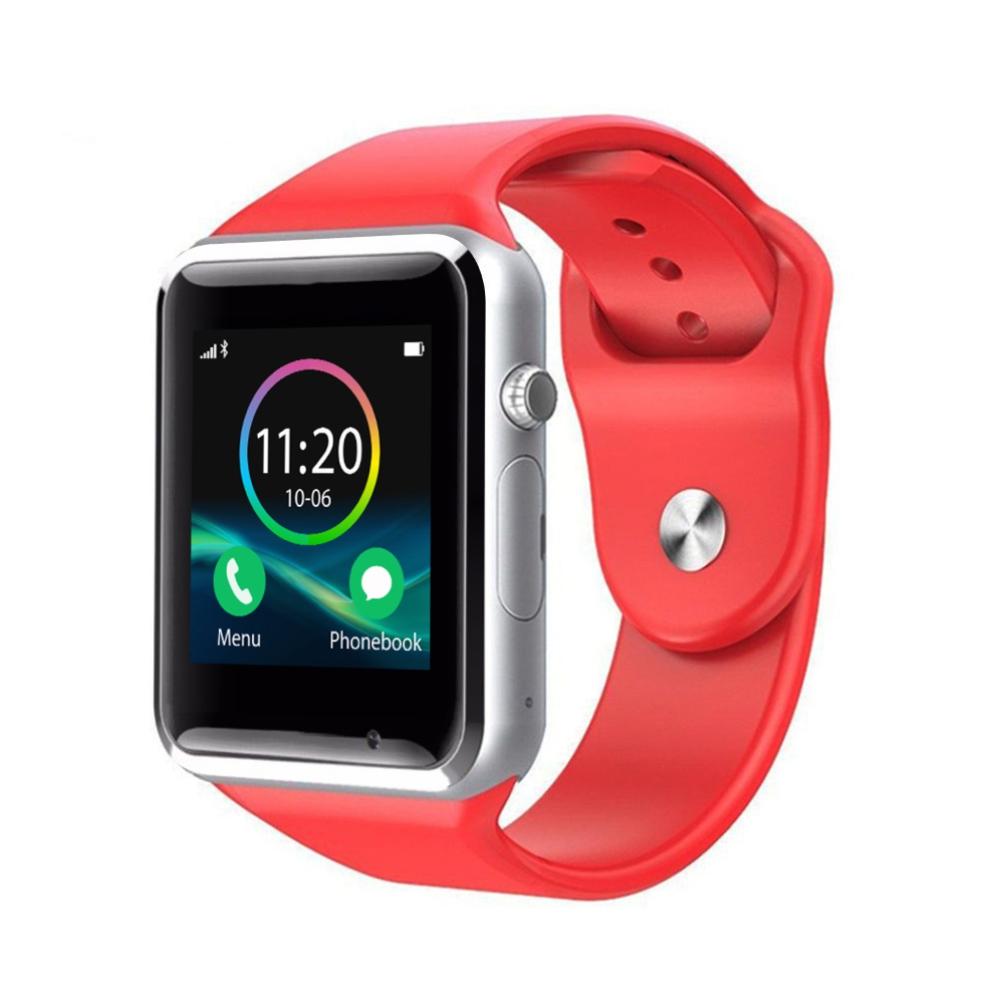 Ceas Smartwatch A1 cu Functie Apelare, SMS, Monitorizare somn, Camera, Pedometru, Bluetooth, Rosu imagine