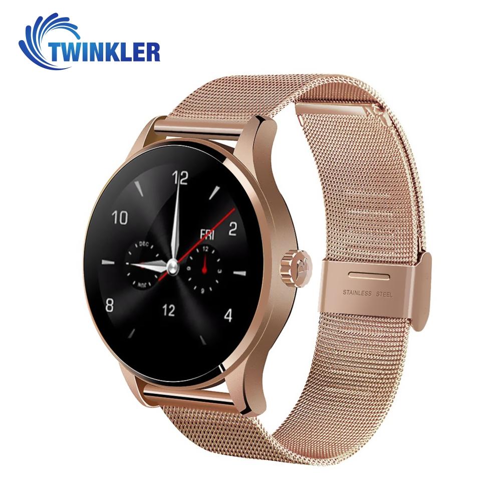 Ceas Smartwatch TKY-K88H cu Functie Apelare prin Bluetooth, Senzor puls, Notificari, Pedometru, Auriu imagine