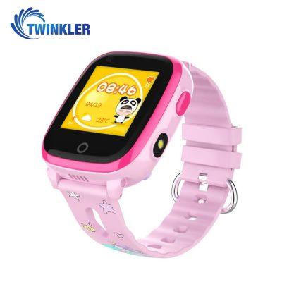 Ceas Smartwatch Pentru Copii Twinkler TKY-DF33 cu Functie Telefon, Apel video, Localizare GPS, Camera, Lanterna, SOS, Android, 4G, IP54, Joc Matematic – Roz, Cartela SIM Cadou