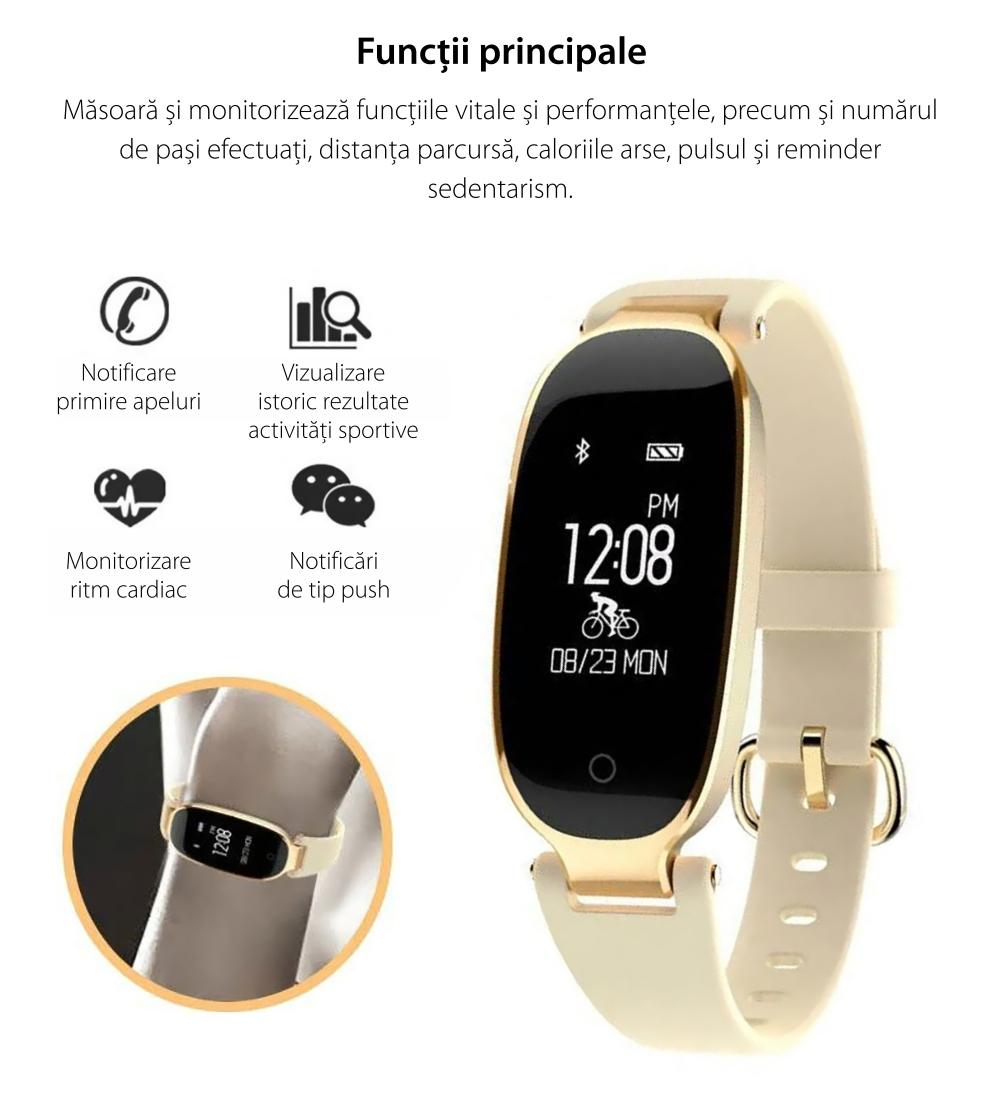 Bratara fitness inteligenta TKY-S3 cu functie de monitorizare ritm cardiac, Monitorizare somn, Pedometru, Notificari, Auriu