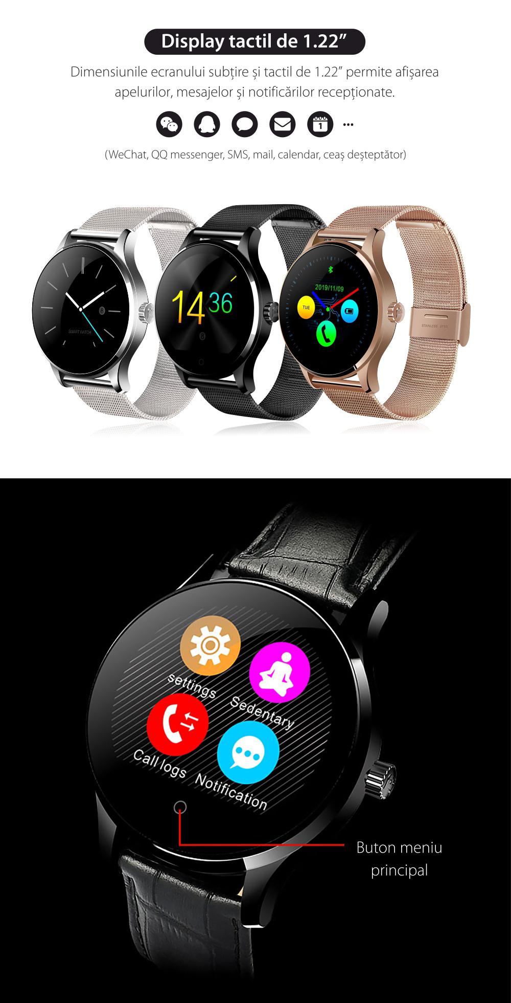 Ceas Smartwatch TKY-K88H cu Functie Apelare prin Bluetooth, Senzor puls, Notificari, Pedometru, Argintiu