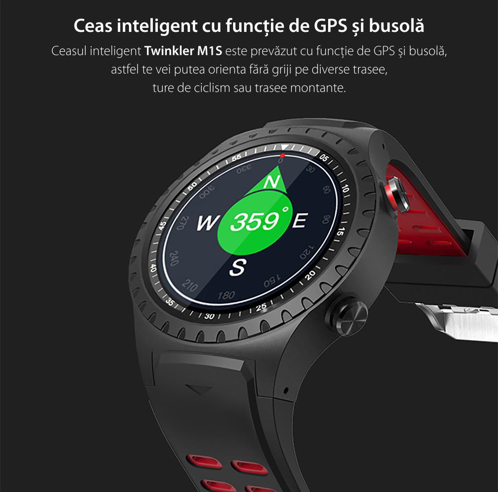 Ceas Smartwatch TKY-M1S cu Functie Apelare, Ritm cardiac, GPS, Busola, Barometru, Pedometru, Slot SIM, Rosu