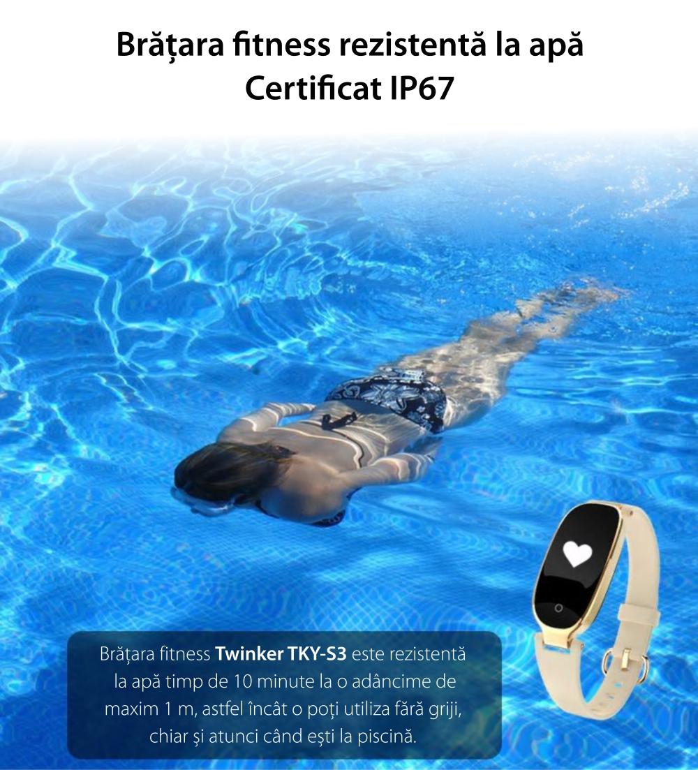 Bratara fitness inteligenta TKY-S3 cu functie de monitorizare ritm cardiac, Monitorizare somn, Pedometru, Notificari, Roz