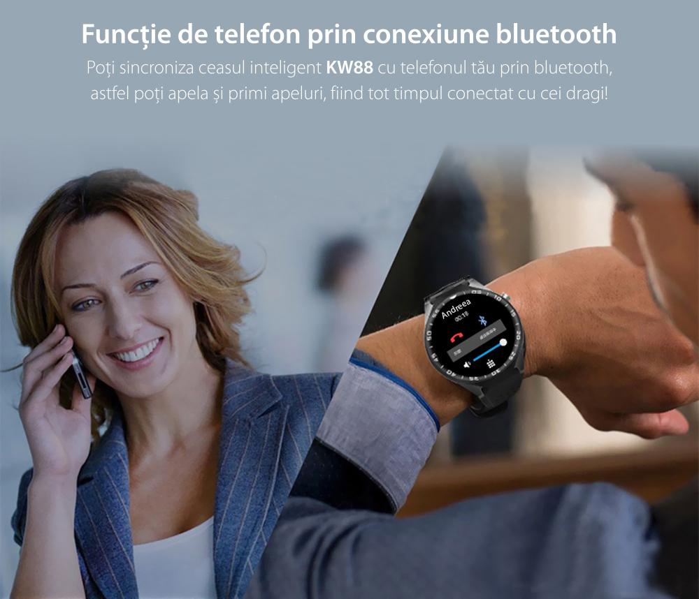 Ceas Smartwatch S99C cu Functie Apelare, Senzor puls, Camera, Notificari, Pedometru, GPS, WiFi, Memorie interna 2GB, 3G, Android, Rosu