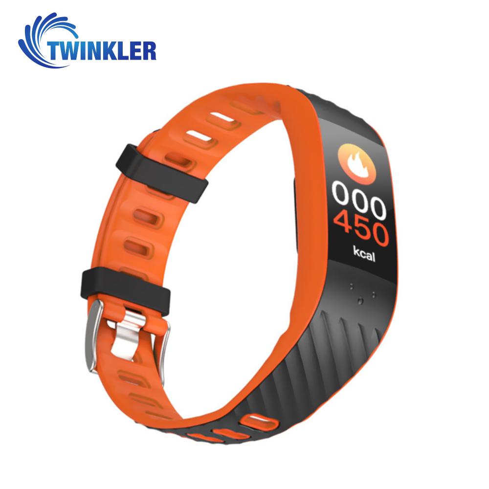 Bratara fitness inteligenta TKY-P4 cu functie de monitorizare ritm cardiac, Tensiune arteriala, Monitorizare somn, Pedometru, Notificari, Portocaliu imagine