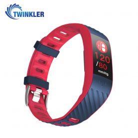 Bratara fitness inteligenta TKY-P4 cu functie de monitorizare ritm cardiac, Tensiune arteriala, Monitorizare somn, Pedometru, Notificari, Rosu