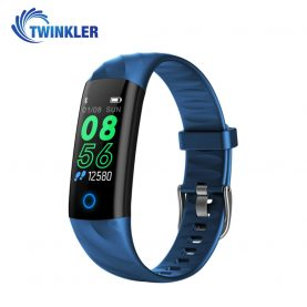 Bratara fitness inteligenta TKY-S5 cu functie de monitorizare ritm cardiac, Tensiune arteriala, Monitorizare somn, Pedometru, Notificari, Iluminare LED, Albastra