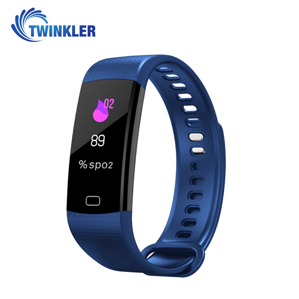 Bratara fitness inteligenta Y5 cu masurarea tensiunii arteriale si a ritmului cardiac, Albastra imagine