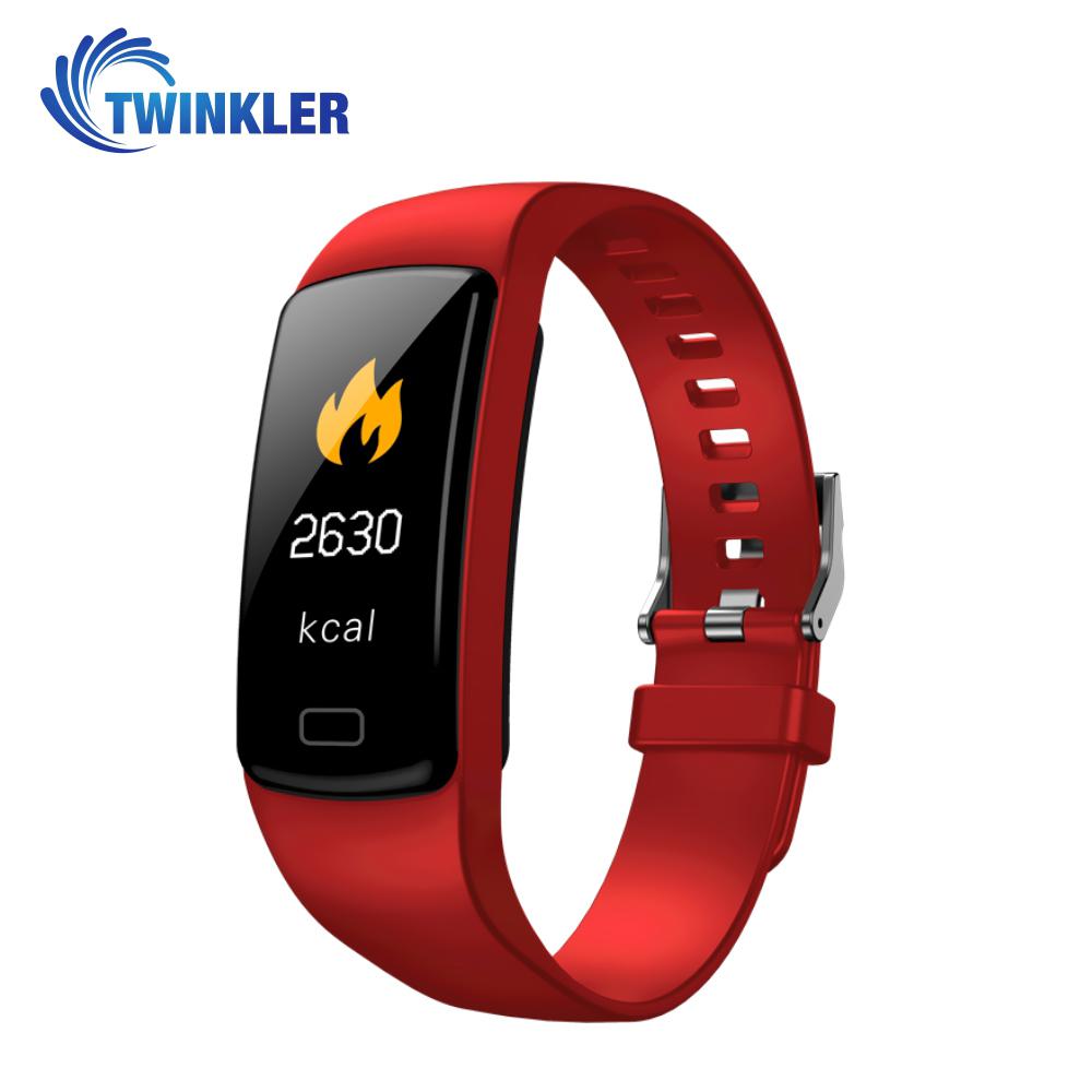 Bratara fitness inteligenta TKY-Y9 cu functie de monitorizare ritm cardiac, Tensiune arteriala, Nivel Oxigen, Pedometru, Notificari, Rosie imagine