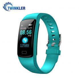 Bratara fitness inteligenta TKY-Y9 cu functie de monitorizare ritm cardiac, Tensiune arteriala, Nivel Oxigen, Pedometru, Notificari, Turcoaz