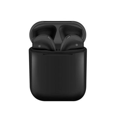Casti wireless Bluetooth I12 Stereo cu Functie apelare, Control muzica, Cutie incarcare inclusa, Android/ iOS, Negru