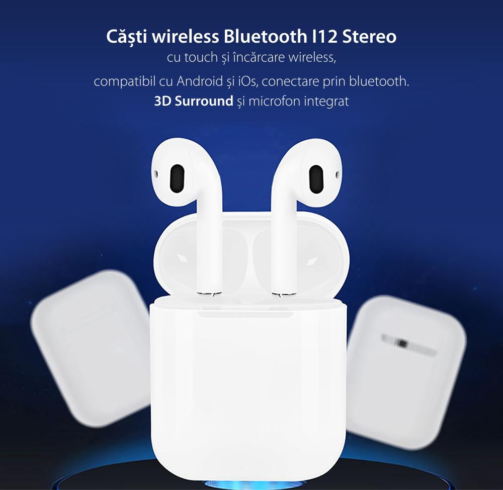 Casti wireless Bluetooth I12 Stereo cu Functie apelare, Control muzica, Cutie incarcare inclusa, Android/ iOS, Rosu
