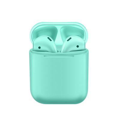 Casti wireless Bluetooth I12 Stereo cu Functie apelare, Control muzica, Cutie incarcare inclusa, Android/ iOS, Turcoaz
