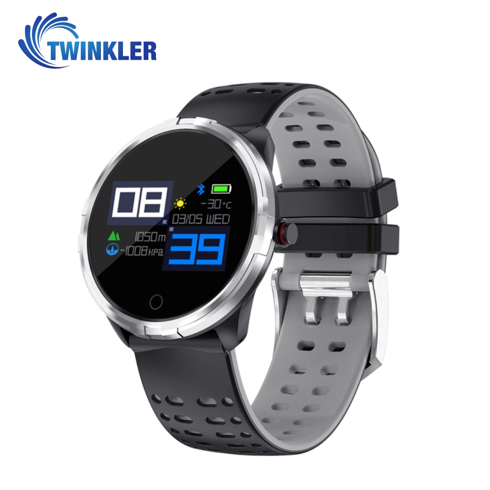 Ceas Smartwatch TKY-X7 cu functie de monitorizare ritm cardiac, Tensiune arteriala, Monitorizare somn, Notificari, Negru – Gri imagine