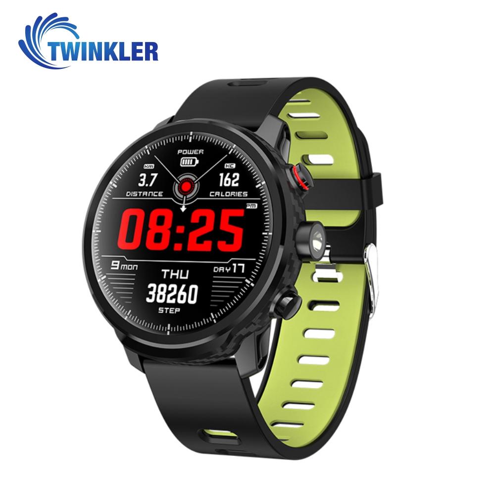 Ceas Smartwatch TKY-L5 cu functie de monitorizare ritm cardiac, Monitorizare somn, Pedometru, Notificari, Lanterna, Negru – Verde imagine