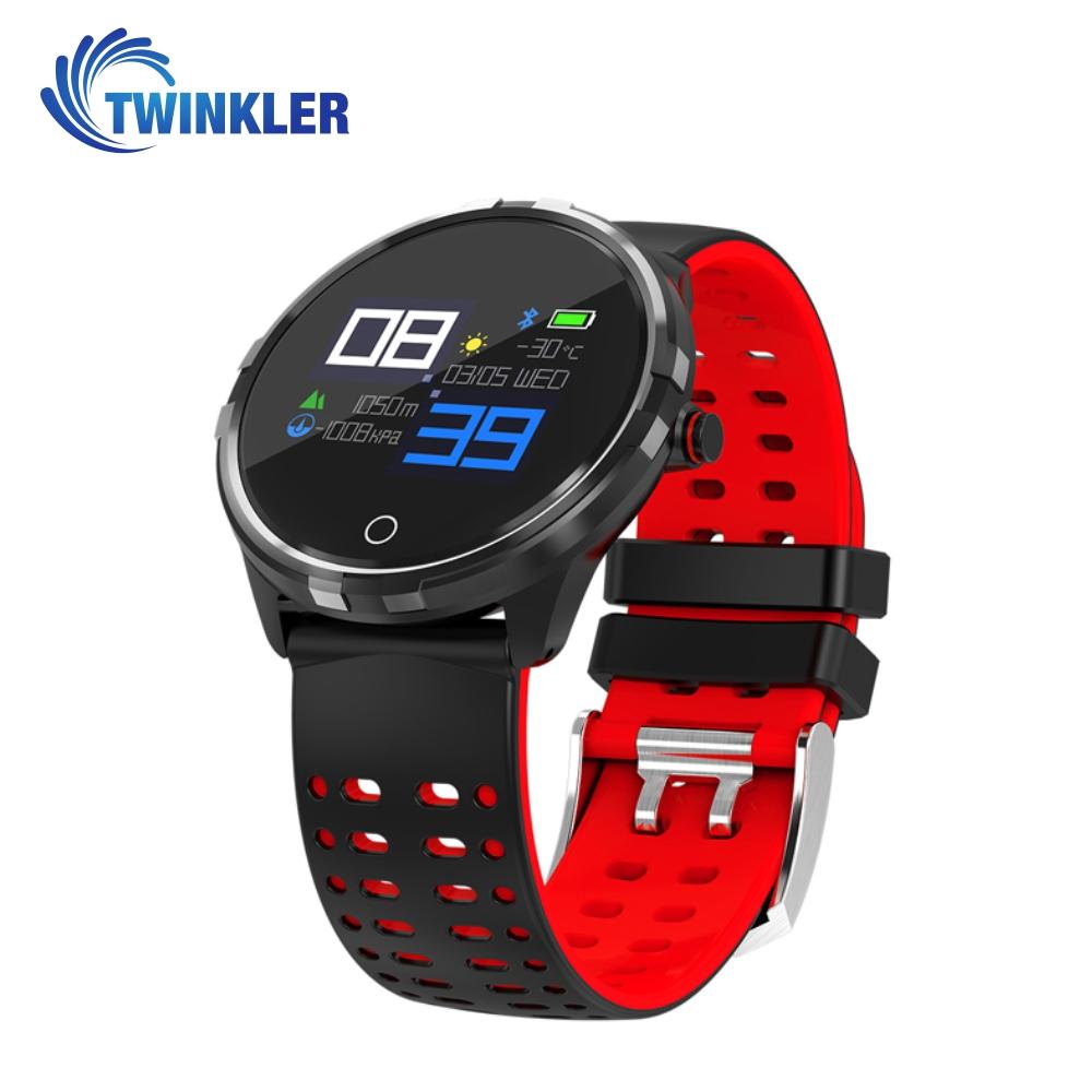 Ceas Smartwatch TKY-X7 cu functie de monitorizare ritm cardiac, Tensiune arteriala, Monitorizare somn, Notificari, Negru – Rosu imagine