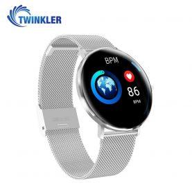 Ceas Smartwatch TKY-L6 cu functie de monitorizare ritm cardiac, Monitorizare somn, Pedometru, Notificari, Metal, Argintiu