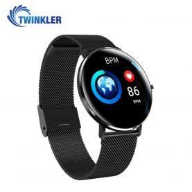 Ceas Smartwatch TKY-L6 cu functie de monitorizare ritm cardiac, Monitorizare somn, Pedometru, Notificari, Metal, Negru