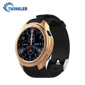 Ceas Smartwatch TKY-L1 cu Functie Apelare, Ritm cardiac, Tensiune arteriala, Camera, GPS, Barometru, Busola, Pedometru, Notificari, Auriu